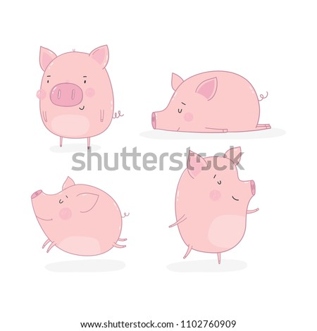 Cute cartoon pig illustration.