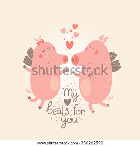 cute cartoon pigs with wings in