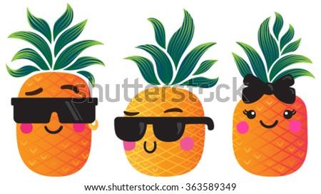 cute cartoon pineapples vector