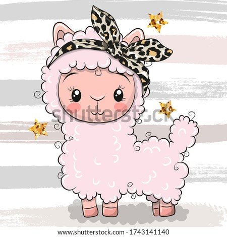 Cute Cartoon Pink Alpaca with a bow isolated on a striped background