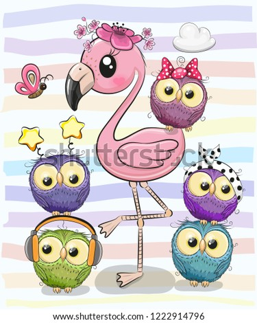 cute cartoon pink flamingo and