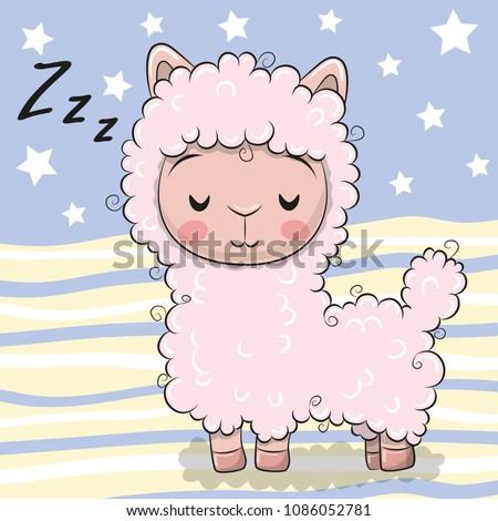 Cute Cartoon Pink Sleeping Alpaca on striped background
