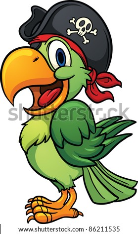 Cute cartoon pirate parrot. Vector illustration with simple gradients. All in a single layer.