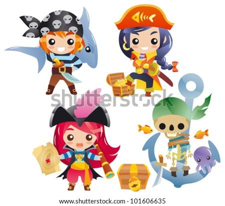 cute cartoon pirates set 2