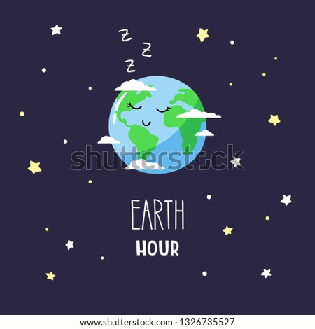 Cute cartoon planet Earth in the night sky and inscription Earth hour. Vector illustration.
