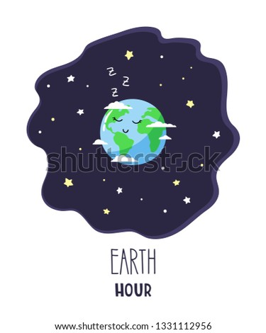 Cute cartoon planet Earth in the night starry sky and inscription Earth hour. Vector illustration.
