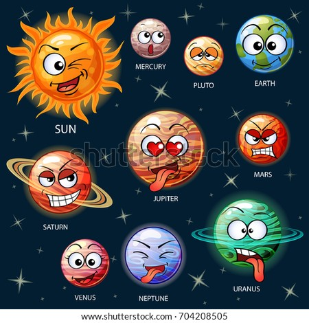 cute cartoon planets of the