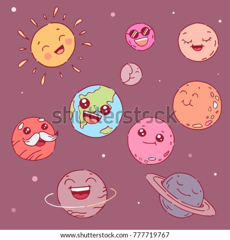 cute cartoon planets with faces