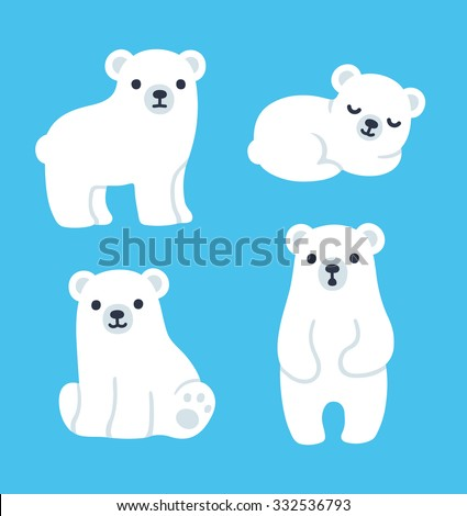 cute cartoon polar bear cubs