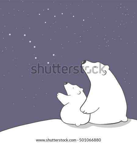 cute cartoon polar bear mom and