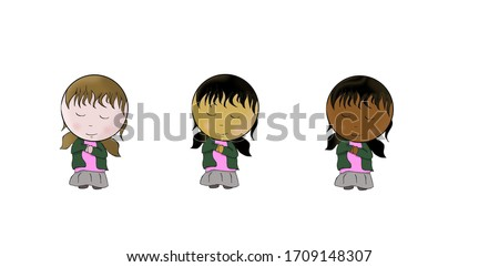 Cute cartoon praying little girls. Three smiling kid (European brown hairy, Asian black hairy and Gipsy black hairy girls). This is an anti-racism and religion themed vector illustration collection.