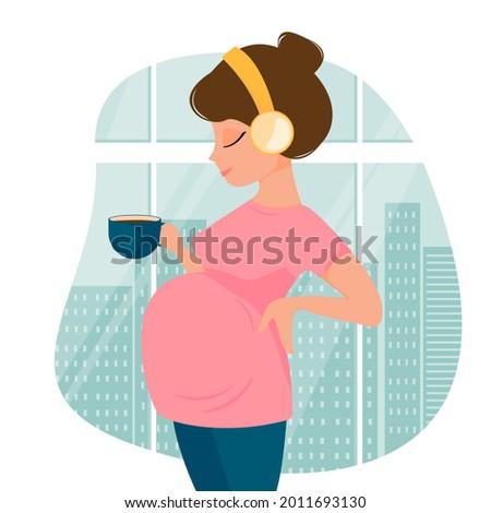 cute cartoon pregnant woman in