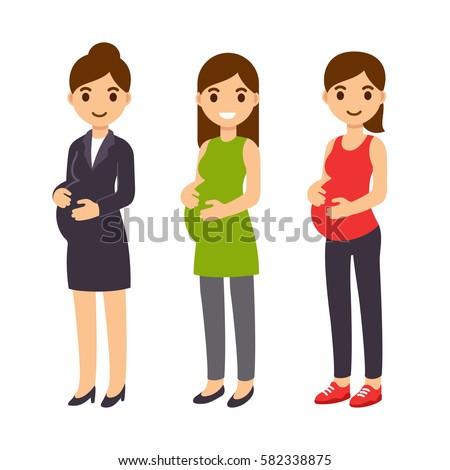 cute cartoon pregnant woman set