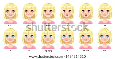 Cute cartoon pretty blond girl with short hair talking mouth animation. Female character speak mouths expressions