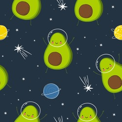 Cute cartoon print with avocado in space. Hand drawn print with space lettering. Seamless pattern with cute avocado