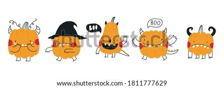 cute cartoon pumpkin monster