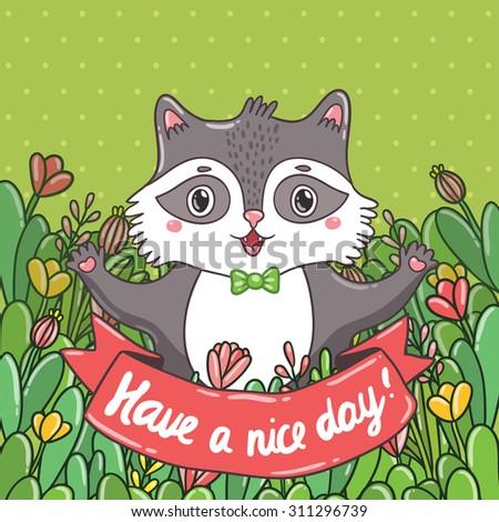 cute cartoon raccoon in the