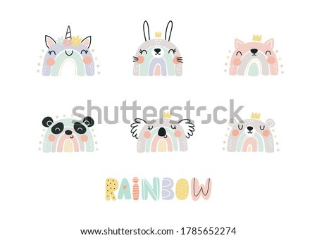 Cute cartoon rainbow Unicorn. Fun print for Baby shower and decor children's bedroom Foto stock ©