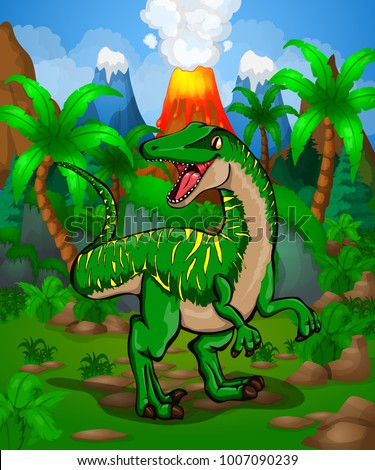 cute cartoon raptor vector