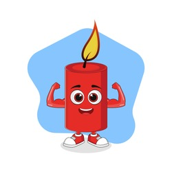 Cute Cartoon Red Candle with Strong Muscle, Good Design For Characters Theme