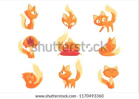 cute cartoon red kitten