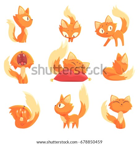 cute cartoon red kitten