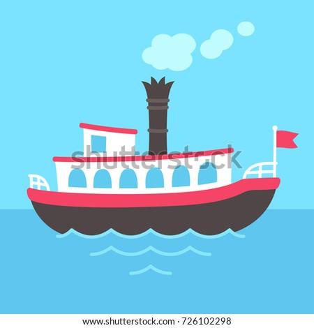 Cute cartoon retro riverboat drawing. Classic American passenger ferry ship vector illustration.