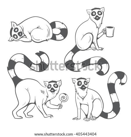 cute cartoon ring tailed lemurs