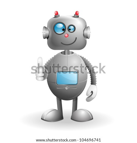 Cute cartoon Robot isolated on a white background. EPS 10 vector illustration