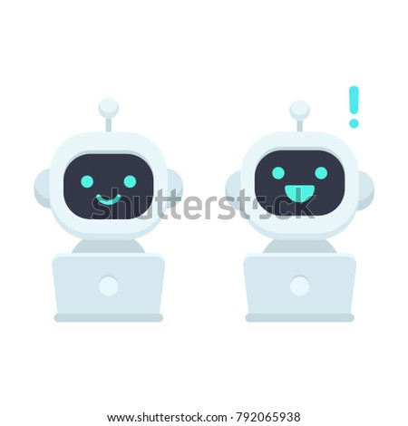 Cute cartoon robot with computer, simple flat icon. Chat bot vector illustration, artificial intelligence virtual assistant.