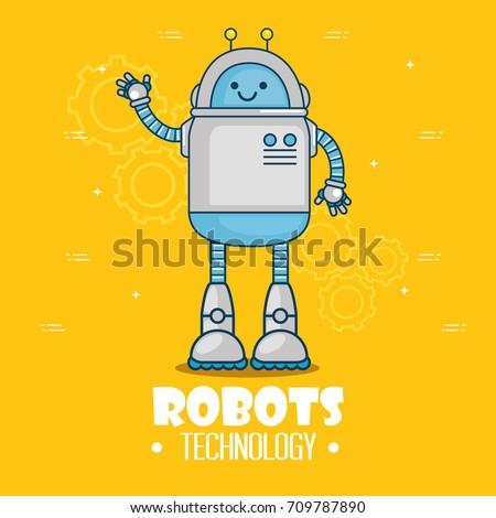 cute cartoon robots technology