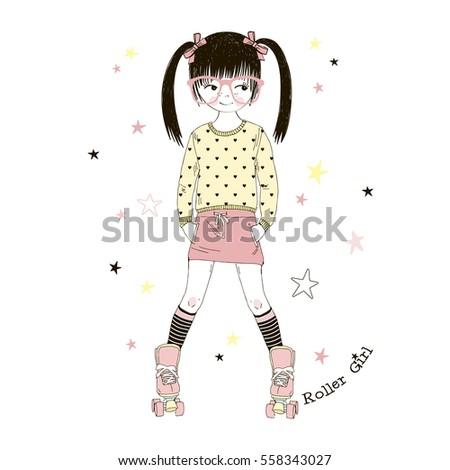 cute cartoon roller girl   kid