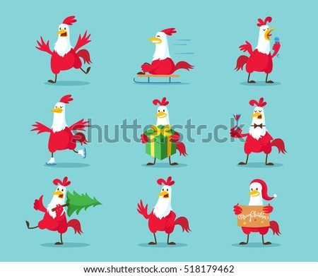 Cute cartoon rooster vector illustration clipart. Funny red roosters in different poses isolated on background. Cock, farm animal the symbol of New Year 2017