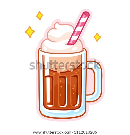 Cute cartoon root beer float illustration. Mug of root beer with ice cream, whipped cream and drinking straw.