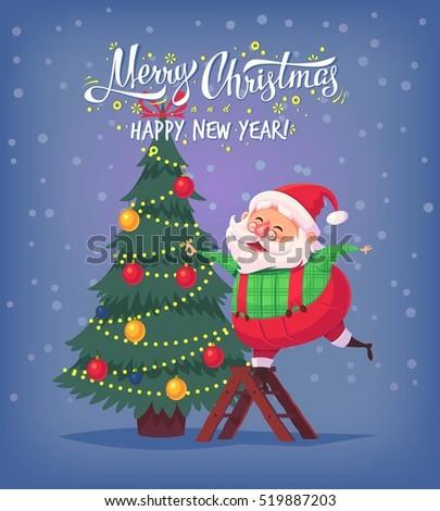 Cute cartoon Santa Claus decorating Christmas tree Merry Christmas vector illustration Greeting card poster.