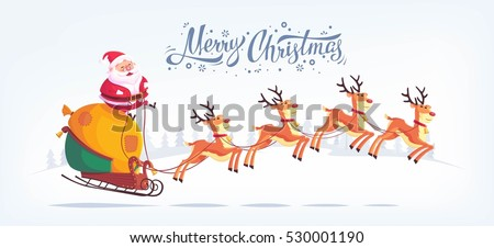 cute cartoon santa claus riding