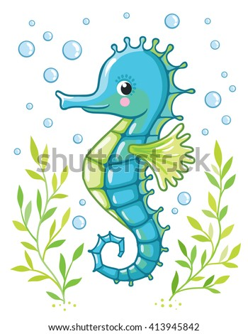 cute cartoon sea horse isolated