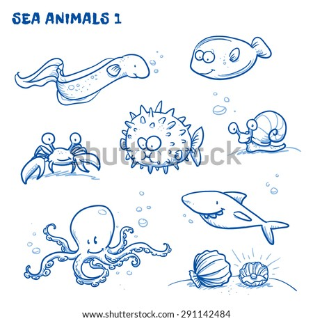 cute cartoon sea water animals