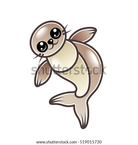 Cute cartoon seal isolated on white vector illustration