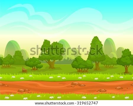 stock vector cute cartoon seamless landscape with separated layers summer day illustration 319652747 - Каталог — Фотообои «Для детской»