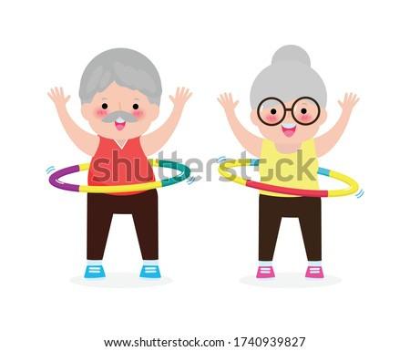 Cute cartoon Senior couple doing hula hoop, elderly people exercises with hula hoop, old person playing hoola hoop, Weight loss concept, healthy and fitness isolated on white background vector