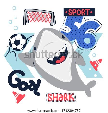 cute cartoon shark goalkeeper