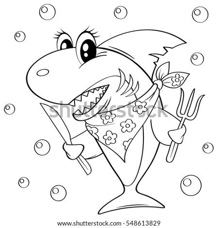 cute cartoon shark with fork