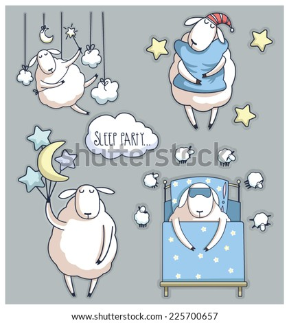 cute cartoon sheep in vector