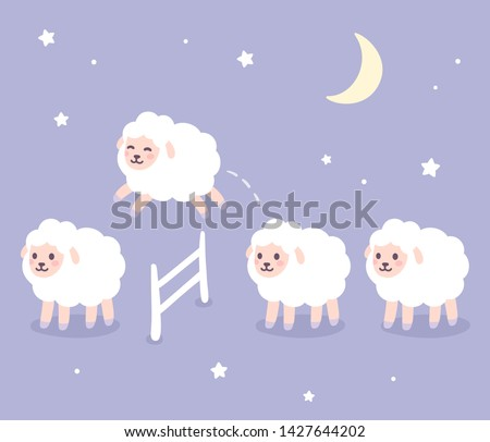 Cute cartoon sheep jumping over fence, good night drawing. Counting sheep for insomnia. Night sky with stars and moon. Hand drawn vector clip art illustration.
