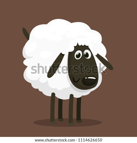 Cute cartoon sheep mascot character. Vector illustration of fluffy sheep feeding. Isolated