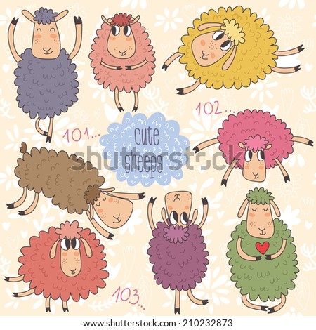 cute cartoon sheeps vector set
