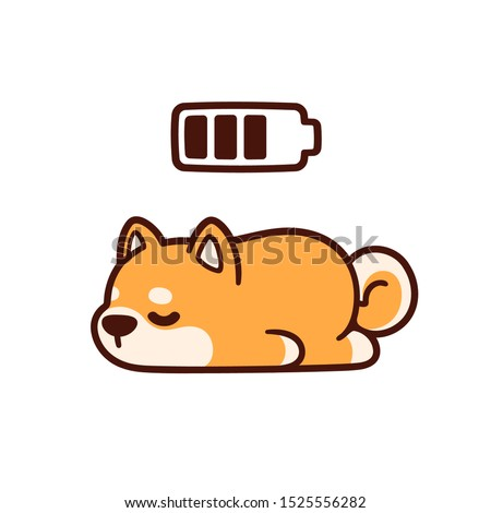 Cute cartoon Shiba Inu puppy taking power nap with charging battery. Adorable sleeping dog drawing, vector illustration.