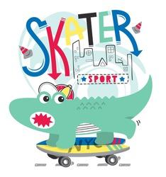 Cute cartoon skater crocodile on the street on white background illustration vector.
