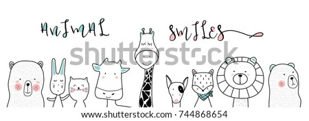 cute cartoon sketch animals for t-shirt print, textile, patch, kid product,pillow, gift.vector illustrator